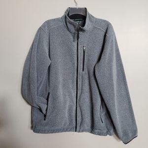 LL.Bean mens M gray fleece full zip jacket